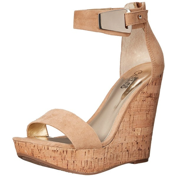Carlos by Carlos Santana Womens Benita Open Toe Ankle Strap Wedge Pumps