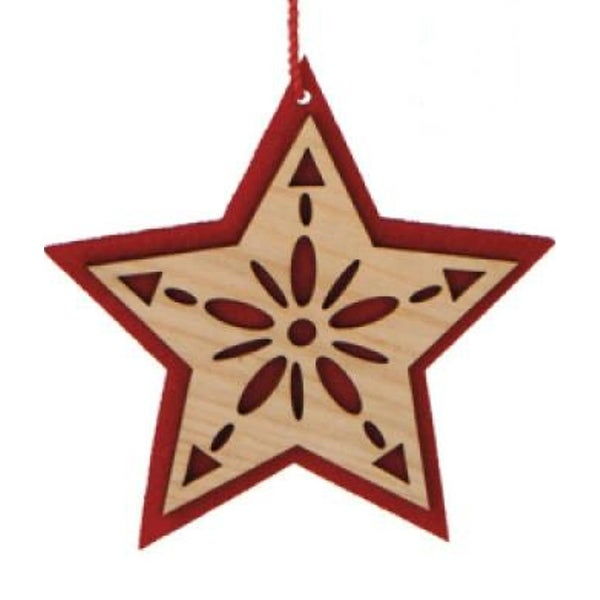 "4.75"" Alpine Chic Brown and Red Country Rustic Style Wooden Floral Star Icon Christmas Ornament"