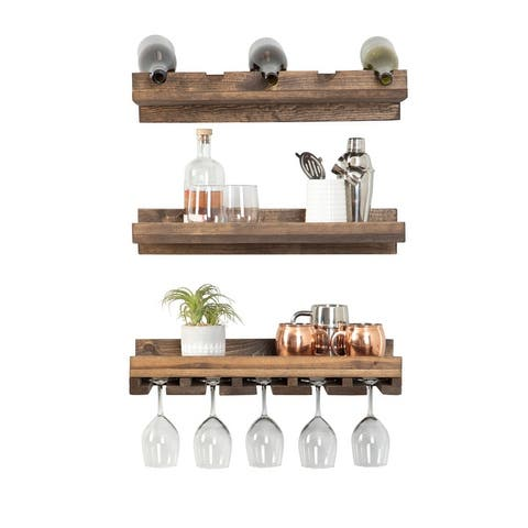 Handmade Del Hutson Designs Rustic Luxe Tiered Wine Set - 5 Bottle Count