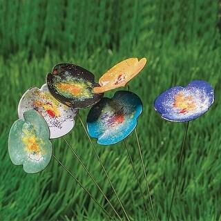 Art & Artifact Copper Enamel Flowers - Indoor/Outdoor Metal Floral Bouquet Decor for Potted Plants, Garden and Yard