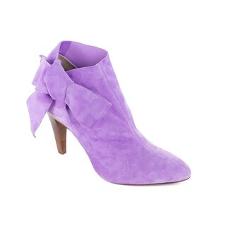 Roberto Cavalli's Purple Suede Ankle Bow Strap Pointed Toe Booties