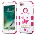 Insten Pink/ White Butterfly Dancing Tuff Hard PC/ Silicone Dual Layer Hybrid Case Cover with Stand For Apple iPhone 7 - Thumbnail 0