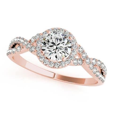 Auriya 14k Gold 1ct Twisted Moissanite Halo 1/5ct Diamond Engagement Ring