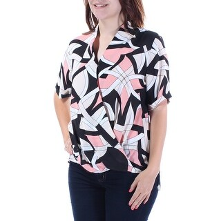 Womens Pink Printed Short Sleeve Collared Faux Wrap Top Size 6