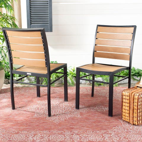 "Safavieh Outdoor Living Koda Chair - Black / Brown (Set of 2) - 18.5""x22.8""x34"""