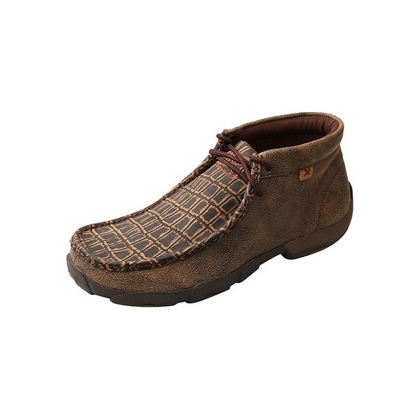 Twisted X Casual Shoes Mens Rubber Sole Caiman Print Moc Brown