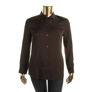 Theory Womens Tenia Silk Collar Button-Down Top