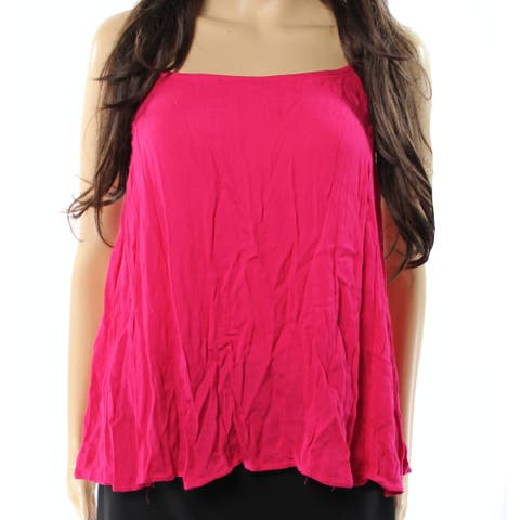 Elodie NEW Deep Pink Womens Size L Ruffled Spaghetti Strap Cami Top