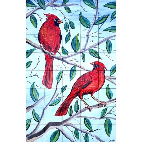 30in x 48in Mosaic Tile Ceramic Wall Mural 40pc Red Cardinal Design