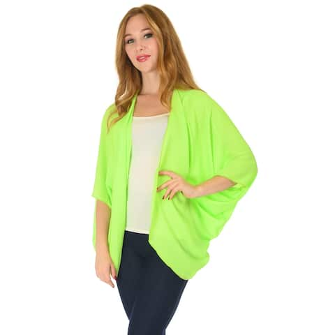 SR Women's Solid Chiffon Batwing Cardigan Swimwear Cover Up (Size: S - 5X)