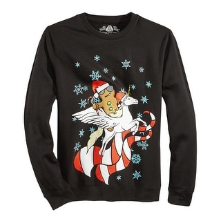 American Rag Graphic Print Holiday Crewneck Sweatshirt Black X-Large