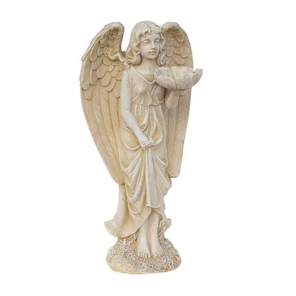 """20"""" Heavenly Gardens Distressed Ivory Cherub Angel Bird Feeder Outdoor Patio Garden Statue"""
