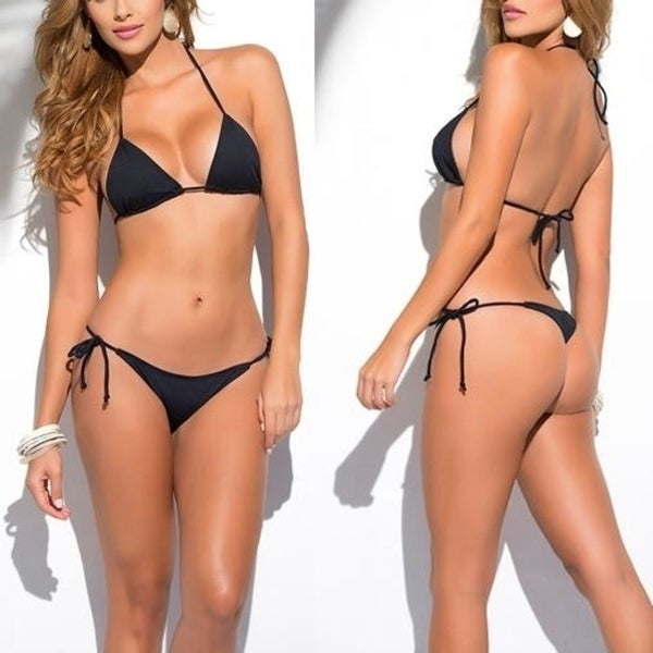 590f7eb9da4 Solid Black Classic Thong Bikini Women's Swimwear Summer Beach String  Bikinis hot