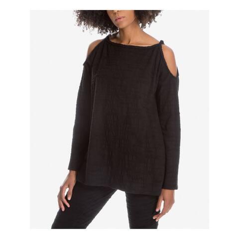 MAX STUDIO Womens Black Long Sleeve Boat Neck Tunic Top Size S