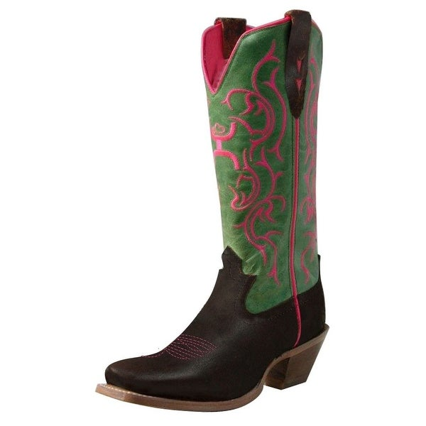 HOOey Western Boots Womens Cowboy Square Toe Brown Lime