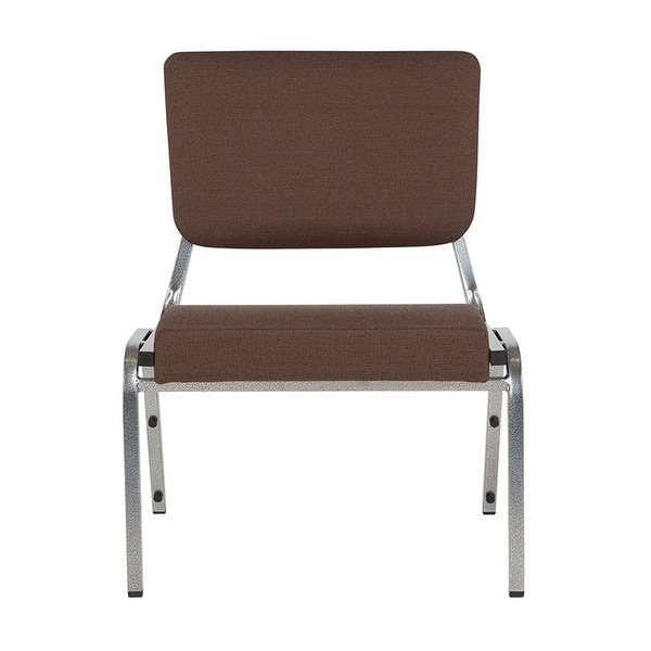 Offex 1500 lb. Rated Brown Antimicrobial Fabric Bariatric Chair with 3/4 Panel Back and Silver Vein Frame