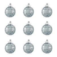 "9ct Silver Splendor Mirrored Glass Disco Ball Christmas Ornaments 1.5"" (40mm)"