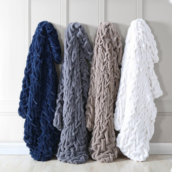 "Modern Threads Faux Fur Braided Reverse to Flannel Throw - 50"" x 60"". Opens flyout."