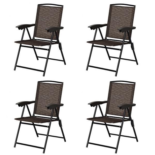 Shop Costway 4pcs Folding Sling Chairs Steel Armrest Patio