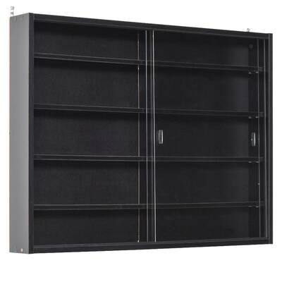 HOMCOM 5-storey Wall Shelf Display Cabinet w/2 Glass Doors and 4 Adjustable Shelves