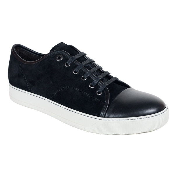 Lanvin Men Black Calfskin Leather Suede Striped Lace Up Sneakers