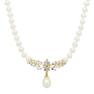 Freshwater Pearl & 3 3/8 ct White Sapphire Garland Necklace in 10K Gold