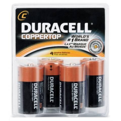 Duracell MN1400R4ZX Copper Top Alkaline C Battery, 1.5 Volt, 4-Pack