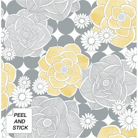 NextWall Retro Floral Peel and Stick Removable Wallpaper - 20.5 in. W x 18 ft. L