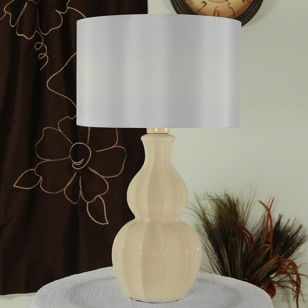 Sunnydaze Indoor Outdoor White Curved Ceramic Table Lamp 26 Inch Tall