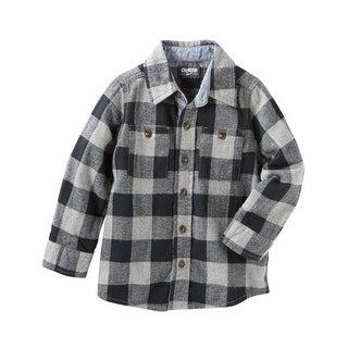 OshKosh B'gosh Little Boys' 2 Pocket Plaid Button Front Shirt, 5-Kids