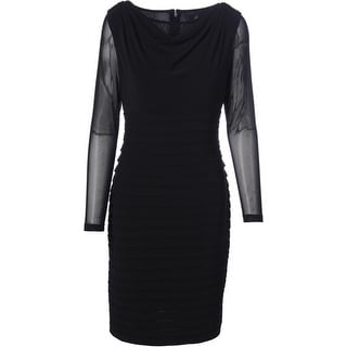 Adrianna Papell Womens Mesh Sleeves Drape Neck Cocktail Dress - 16