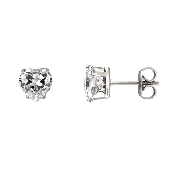 Solitaire Heart Shape Earrings Womens Stainless Steel 7mm Cubic Zirconia