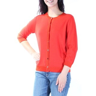 ST JOHN $595 Womens New 2693 Red 3/4 Sleeve Button Up Casual Sweater M B+B