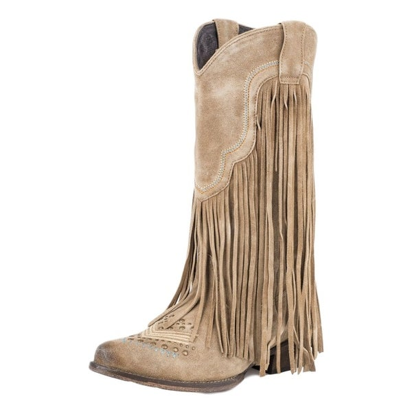Roper Western Boot Women Studs Fringe Snip Toe Tan