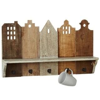 "Brown Rectangular Wooden Slat House Silhouette Wall Shelf with Hooks 23.6"""