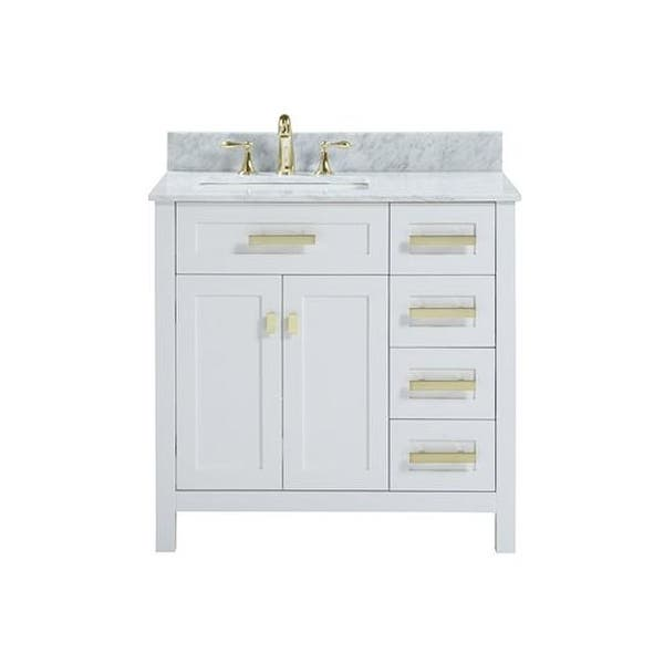 36 Inch Freestanding White Bathroom Vanity With White Carrara Marble Overstock 31985897