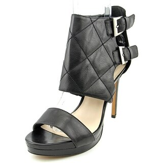 Nine West Brake Dance Women  Open Toe Leather Black Platform Heel