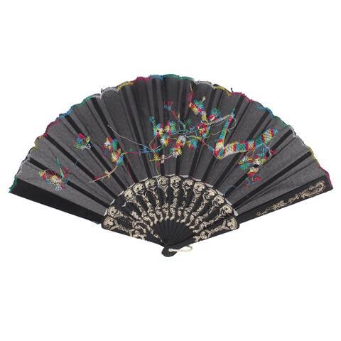"Unique Bargains 17.3"" Scalloped Rim Golden Tone Folding Frame Scalloped Rim Hand Fan"