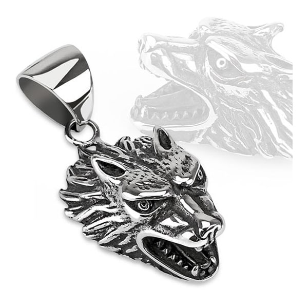Fierce Wolf Cast Stainless Steel Pendant (33 mm Width)