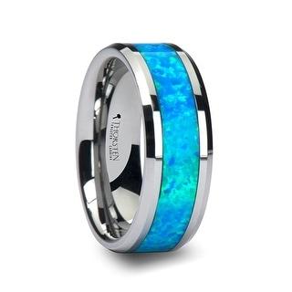 QUASAR Tungsten Wedding Band with Blue Green Opal Inlay