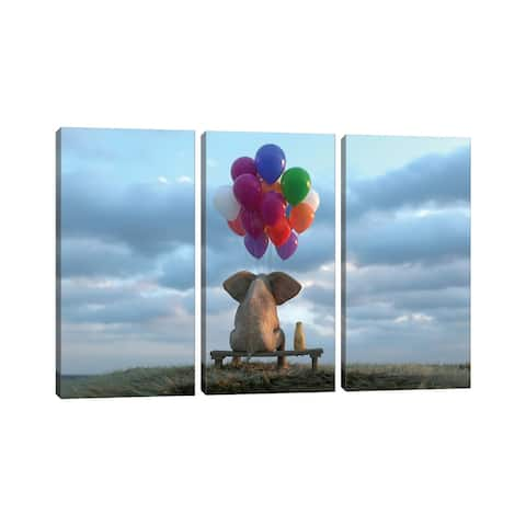 """iCanvas """"Elephant And Dog Sit In The Meadow With Helium Balloons"""" by Mike Kiev 3-Piece Canvas Wall Art Set"""