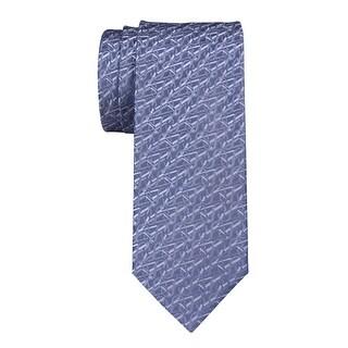 Yves Saint Laurent Logo Jacquard Woven Silk Tie Steel Blue Made In France