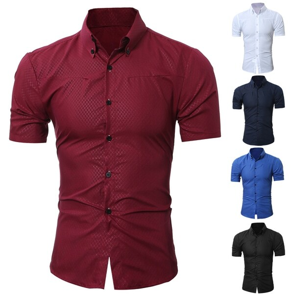9fa8c3d1f15f ... Men s Clothing     Shirts     Casual Shirts. Men  x27 s Stylish Casual  Slim Fit Checked Print Summer Short Sleeve Button Down