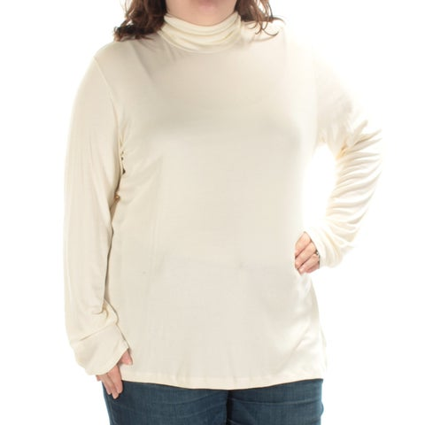 Womens Ivory Long Sleeve Turtle Neck Casual Top Size 3X