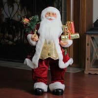 "24"" Traditional Holly Berry Standing Santa Claus Christmas Figure with Presents and Gift Bag - RED"