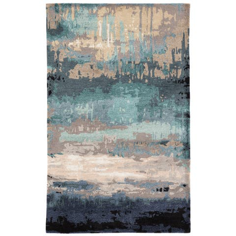 Ilsted Handmade Abstract Blue/ Gray Area Rug - 12' x 15'