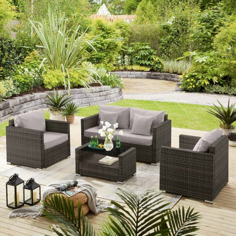 5 Piece Outdoor Cushioned Wicker Set with Chairs and Table (Brown Base)
