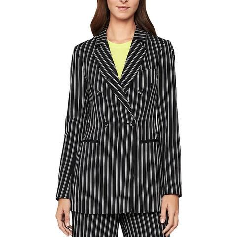 BCBG Max Azria Womens Blazer Striped Double Breast - Black Combo