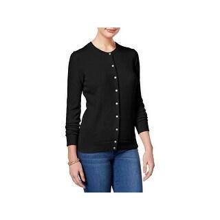 Karen Scott Womens Petites Cardigan Sweater Ribbed Trim Long Sleeves - pxl