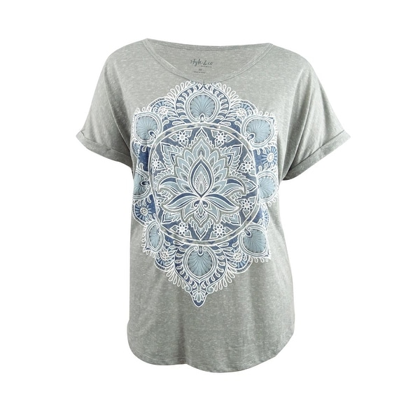 e39abb1b2 Shop Style & Co. Women's Plus Size Printed V-Neck T-Shirt (3X, Stained  Medallian) - Stained Medallian - 3X - Free Shipping On Orders Over $45 -  Overstock - ...